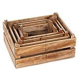 DESIGN DELIGHTS DEKO HOLZKISTEN Set WINEYARD 45 | 4 teiliges Vintage Kisten Set aus Altholz, Shabby Style Weinkisten| Kistenset Farbe: Natur-braun