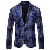 ESAILQ Herren Herbst Winter Formale Streifen Langarm Weste Jacke Top Coat (XX-Large,Blau)