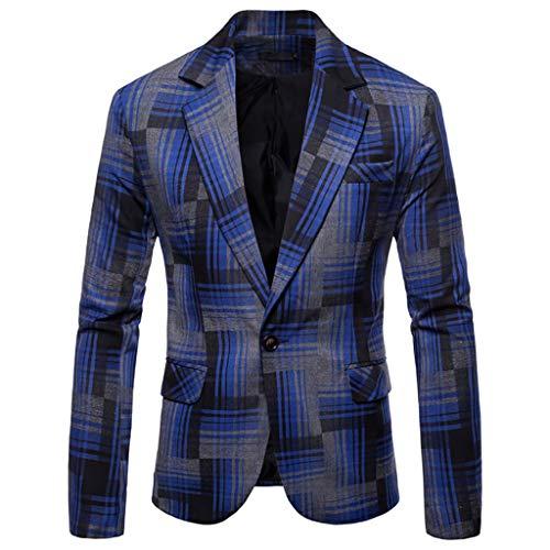 (ESAILQ Herren Herbst Winter Formale Streifen Langarm Weste Jacke Top Coat (XXX-Large,Blau))