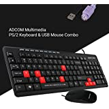 Adcom Combo K401 Keyboard PS/2 & USB Mouse (Only For Computers/Desktop Connectivity)