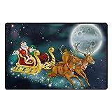 Bennigiry Santa Weihnachten Bereich Teppich Teppich Rutschfeste Eintrag Bodenmatte Fußmatten für Wohnzimmer Schlafzimmer 78,7 x 50,8 cm