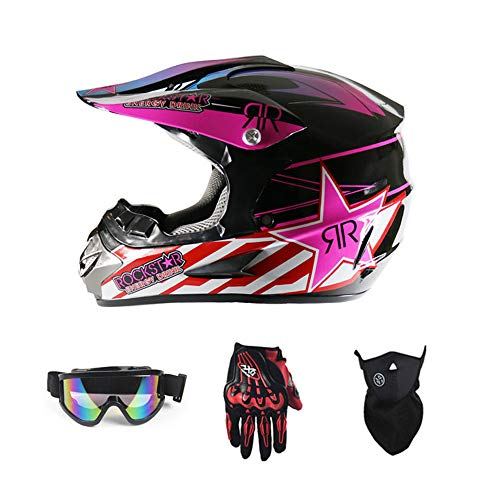 LLCP Motorradhelme, Straßenrennen Motocross-Helme, Herren-Und Damen-Vier-Jahreszeiten Motorrad-Helme, Pink-Star-Rennhelme,M (Motorrad Helm Pink)