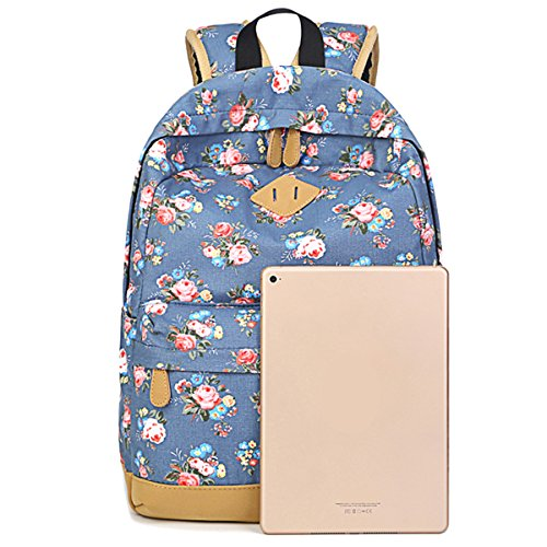 TININNA Vintage Floral tela Zaino Satchel Daypack spalla sacchetto di scuola Beige Blu