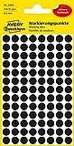 AVERY Zweckform 3009 selbstklebende Markierungspunkte (Ø 8 mm, 416 Klebepunkte auf 4 Bogen, runde Aufkleber für Kalender, Planer und zum Basteln, Papier, matt) schwarz