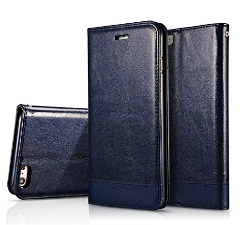"For iPhone 7 4.7"" Case,Premium Leather [Folio Case] [Wallet Function] Dual-Sided Magnetic Hand Strap Purse Flip Book Style With Card Slots Cash Pocket Case Cover for iPhone 7 - Brown Blue"