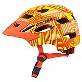 XuBa, Casco Protettivo per Bambini, per Mountain Bike, Bici da Strada, Pattinaggio, con fanale Posteriore, Orange, S-M (50-57CM)