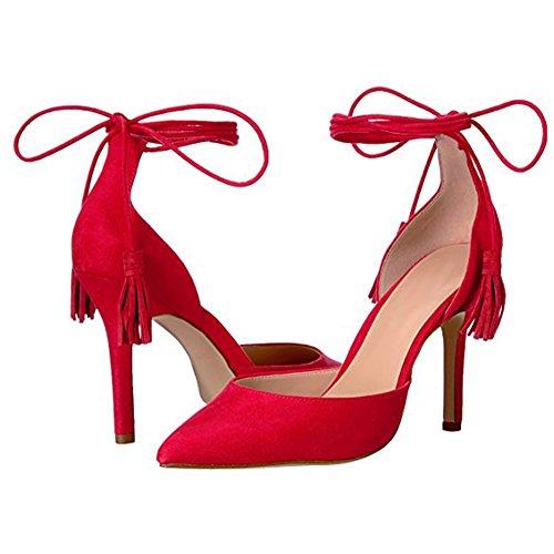 Damen Pumps Spitze Zehen High-Heel Stiletto Fellsamt Knöchelriemchen mit Anhänger Rot