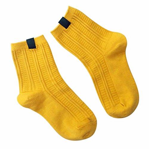 Transer® Damen Mädchen Einfarbig Socken Baumwollmischung Wärmer Herbst Winter Socken (Gelb) (Mikrofaser-kinder-socken)