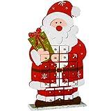 WeRChristmas, decorazione natalizia in legno a forma di pupazzo di neve con calendario dell'avvento, Legno, multicolour, 44 x 24 x 7 cm