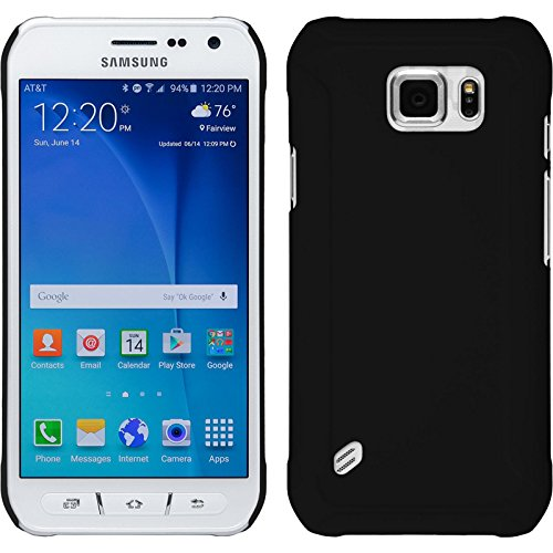 PhoneNatic Case kompatibel mit Samsung Galaxy S6 Active - Hülle schwarz gummiert Hard-case + 2 Schutzfolien