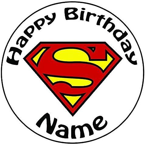 personalisierbar Superman Logo Cake Topper, einem vorgeschnittenen Rund 20,3cm (20cm)