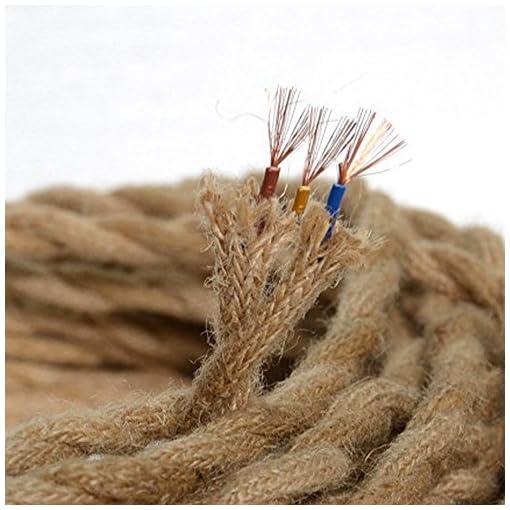 Cavo elettrico, 5m, 3 filamenti principali, Copertura di lino Stile vintage, Attorcigliato, Di rame, Per fai-da-te o applicazioni industriali, Adatto per lampade sospese