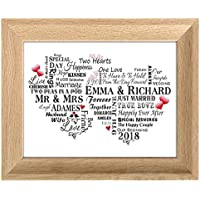Personalised Wedding Print Word Art Gift for Bride and Groom Typography UNFRAMED Typography Card P215