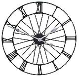 Roue de jardin en métal Horloge dans une finition Noir laqué–extérieur moderne Horloge murale–50cm