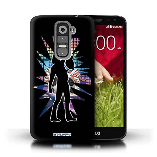Kobalt® Imprimé Etui / Coque pour LG G2 Mini/D620 / Rock Dame Blanc conception / Série Rock Star Pose Atteindre Noir
