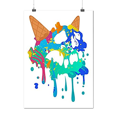 Skull Ice Cream Junk Food Wafer Cone Matte/Glossy Poster A2