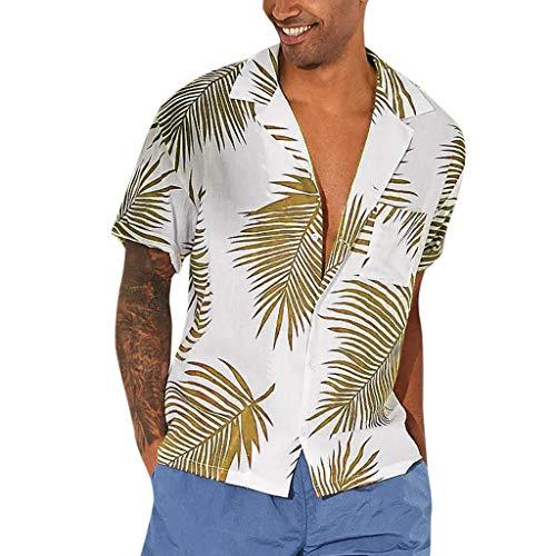 fa15c779dac2b8 MEETEW Men's Regular Fit Camp Palm Tree Short Sleeves Button Down Hawaiian  Shirts Beach Holiday Party
