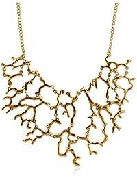 Lureme collar de la aleación de coral comunicado gargantilla patrón exagerada vendimia (01003293-1) oro