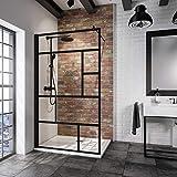 Schulte paroi de douche à l'italienne, Walk In, verre décor Atelier, profilé noir, 120x200 cm