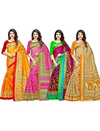 1 Stop Fashion Women's Digital Print Bhagalpuri Saree Combo With Blouse (Set Of 4)