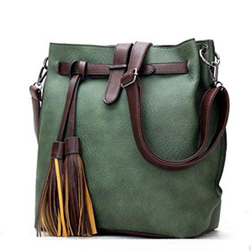 fanhappygo Fashion Retro Leder Damen elegant pu Quaste Eimer Handtaschen Umschlag Schulterbeutel Umhängetaschen grün