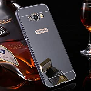 Plus Premium Luxury Metal Bumper Acrylic Mirror Back Cover Case For Samsung Galaxy A7 (2016) - Grey Plated
