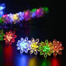 lederTEK Cadena de Luz LED para Exteriores con Alimentación Solar (30 bombillas, 6m) Diseño de Flor Lotos de Colores