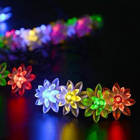 lederTEK, Solar Lichterkette 6m 30 LED Lotosblume Außenlichterkette Wasserdicht mit Lichtsensor Weihnachtsbeleuchtung Beleuchtung für Außen Garten Weihnachten