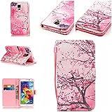 Qiaogle Téléphone Coque - PU Cuir rabat Wallet Housse Case pour Samsung Galaxy A3 (2016) / A3 (2016) Duos / A3100 (4.7 Pouce) - YB11 / Pink Sakura