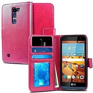 LG Volt 2 Case, NuNu Modish LG Volt 2 Wallet Case [Premium] HOT PINK Stylish Flip Folio Wallet Case with Stand for LG Volt 2