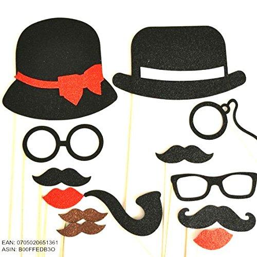 13Pc Photo Booth Party Requisiten, Schnurrbart auf einem Stick Bowler Hat Damen Hat Schnurrbart Gläser SO CUTE Material Glitzer Schaumige