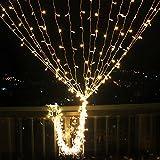 GlobaLink® Lichterkette Lichtervorhang Licht Schnur 4×0.6M 144 LEDs, stromsparend, Magische Beleuchtung-Dekoration für Innen, Raußen, Schlafzimmer, Fenster (Warmweiß)