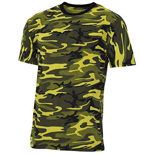 Militär-gelb T-shirt (MFH US T-Shirt,Streetstyle, gelb-camo, 140-145 g/m² - L)