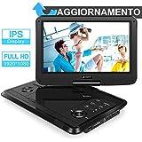 Pumpkin 1080P lettore dvd portatile con schermo IPS da 11,6 pollici, lunga durata di 5 ore, sopporta MP4/ USB/ SD/ MMC/ AV IN/AV OUT/regione free