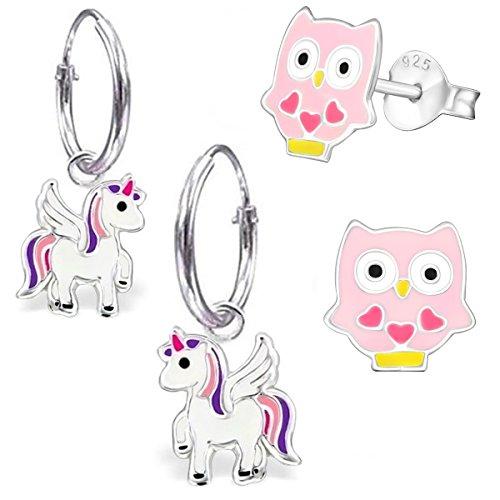 GH* KIDS 2 PAAR Kleine Einhorn Creolen + Ohrstecker 925 Echt Silber Mädchen Baby Kinder Ohrringe Ohrhänger Stern Krone Eule Pegasus (mit Rosa-Pink Eule)