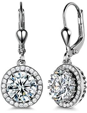 GULICX® Rund Weiß Zirkonia Ohrhänger 925 Sterling Silber Klappbügel Ohrringe