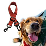 Dog Car Seat Belt 2 PCS Adjustable Pet Restraint Harness Travel Safety Leads (Red)