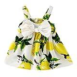 CHIC-CHIC Baby Girl Sweet Princess Tutu Dress Fruit Bowknot Strap Vest Mini Beach Dress Gallus Dress Sleeveless (6-12 months, Yellow)