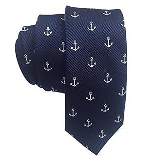 Mens Classic Skinny Tie New Fashion Woven Silk Necktie (Navy Anchor Pattern)