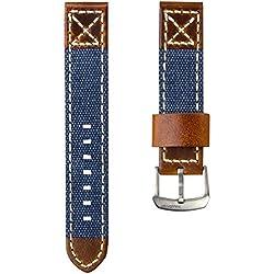 ZULUDIVER® Kanevas & Italienisches Leder Uhrenarmband, Blau & Vintage Braun 20mm