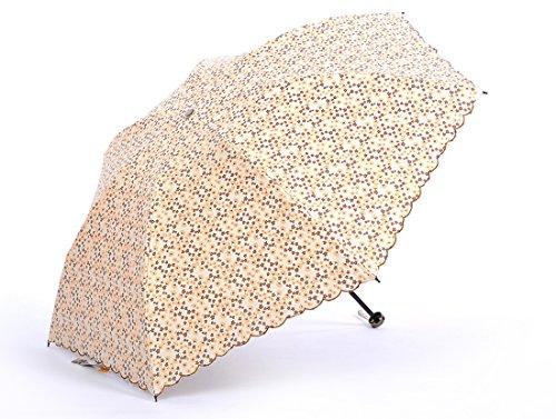 Honeystore Taschenschirm Blumen Sonnnenschirm Kompakt Mini 3 Falten Welle Rand Gedruckt Reisen Schirm Gelb
