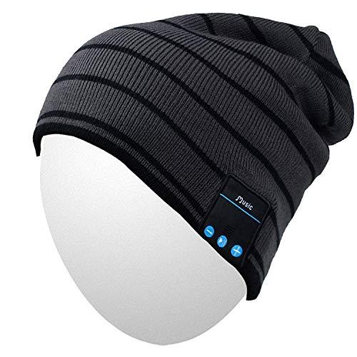 Qshell Cappello musica con la cuffia senza fili Bluetooth auricolare stereo speaker mani Mic libera, regalo di compleanno di Natale per le donne del Mens esterno di inverno Sci Snowboard - Nero
