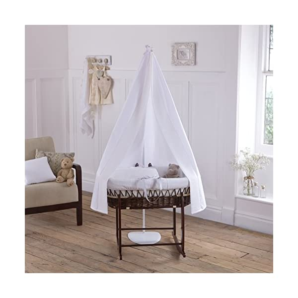 6-Piece White Waffle Dark Wicker Moses Basket Starter Set  Made from 100% super soft Waffle cotton fabric Lightweight cotton drape edged with soft Waffle cotton to match the dressing, with freestanding rod to place next to the Moses basket Comes complete with matching stand, padded liner, delicately embroidered 2.0 tog, reversible coverlet and mattress. 2