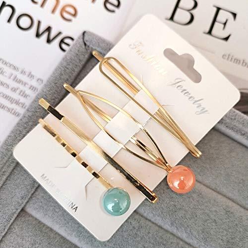 Beaut 4 Teile/Satz Korea Metall haarnadeln Mode Nachahmung Bunte perlen haarspangen Design zubehör für Haar Styling Tool (3 Satz insgesamt)
