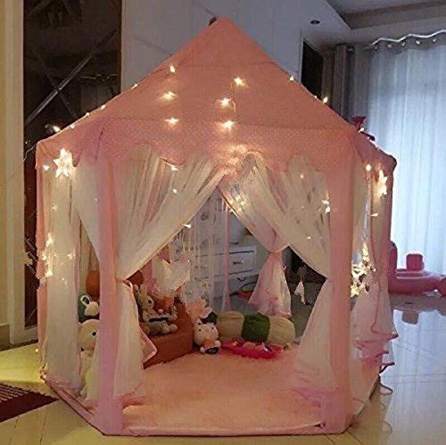 Tienda de Campaña Princesa para Niños,UniqueVC Casas y Tiendas para Niña con se Proporcionaron las luces pequeño LED en Interior y Exterior - Bolas y Manta no Incluidas