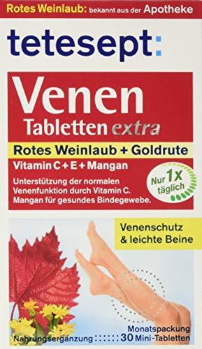 tetesept Venen Tabletten extra - Ergänzungsmittel zur Unterstützung der Venenfunktion dank Vitamin C, extra: Vitamin E & Mangan - 5 x 30 Stück [Nahrungsergänzungsmittel] -