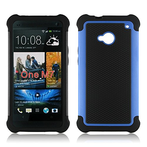 Bracevor Triple Layer Defender hard shell Back case cover for HTC One M7 Dual sim (Blue)  available at amazon for Rs.299
