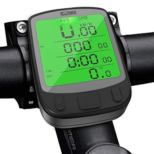 Splaks Cuentakilómetros para Bicicleta de múltiples Funciones, Impermeable,Pantalla retroiluminada, Gran LCD Pantalla,HD...