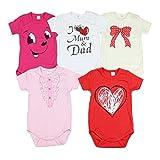 TupTam Unisex Baby Kurzarm Body mit Aufdruck Spruch 5er Pack, Farbe: Mädchen, Größe: 98