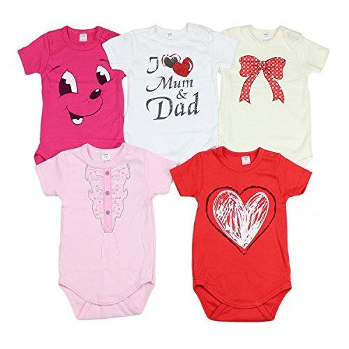 TupTam Unisex Baby Kurzarm Body mit Aufdruck Spruch 5er Pack, Farbe: Mädchen, Größe: 62